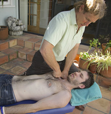 Gary Mitchell giving an adjustment